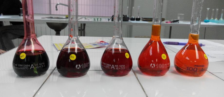 Fent dissolucions i dilucions al laboratori de farmàcia.